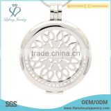 Stainless steel crystal coin plate locket holder,silver locket pendant for women