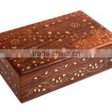Store Indya Decorative Wooden Jewelry Trinket Box Keepsake Storage Chest Handcrafted with Floral Brass Inlay