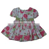 Summer baby girl dress flower patern ruffle short sleeve boutique lovely one pieces dresses