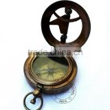 ANTIQUE SUNDIAL COMPASS - BRASS ANTIQUE SUN DIAL COMPASS - NAUTICAL MARINE SUNDIAL COMPASS