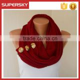 V-435 Fashion winter buttons chunky snood knitted Infinity winter scarf crochet circle neck warmer scarf