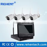 4CH H.264 10 Inch LCD Monitor Wifi NVR Kit 4X Outdoor Waterproof Wireless Infrared IR HD IP Camera