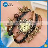 2016 Fashion Ladies Dress Vintage Bird Lover Carved Leather Hand-woven bracelet Watch VW001