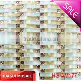 Beige mixed iridescent waving glass mosaic tile for construction decoration
