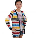 2012-2013New design women t-shirt Korean style Stripe multicolor lady 's Spring fashion coat