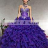2013 short sleeve sweetheart beaded ruffled skirt royal blue ball gowns with jacket CWFab5304