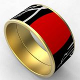 Black And Red Enamel Stainless Steel Bangle Bracelet Gold Plated