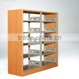 New style steel and wood library furniture,modern public office bookshelf,bookcase,book rack