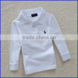 2016 new fashion 100% long sleeve slim fit blank polo t-shirt for kid