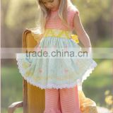 Newest children floral printed ruffled outfit dress top & capris pants set baby cute summer outfit