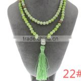 108 Hand Knotted Natural stone Wooden Beads Mala Tassel Necklace