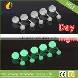 7 colors nightlight stainless steel body piercing of the double acrylic ball belly button
