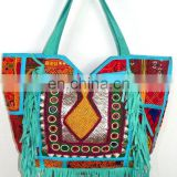 Antique Indian Banjara Tote Bag Vintage Leather Fringe Bag Exclusive Fashionable Women's Handbag