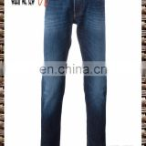 Blue elastic cotton straight jeans, five pocket design followed by brand label, fade effect fashion men's trousers