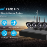 Sricam Otdoor Weatherproof IP Camera Wi-Fi Connection Smartp 720P HD Wireless Security Camera System 4CH+4Ccameras NVR