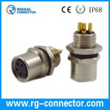 M8 female panel mount connector front fastened male 3/4pin A coding solder contact