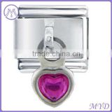 Heart Birthstone 9mm Stainless Steel Italian Dangle Charm for Nomination Bracelet