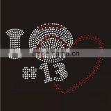I love 13 crystals baseball rhinestone iron on transfer motif