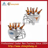 Pinic outdoor football ice cooler box for BBQ ,Cooler box with grill,helmet shape cooler with grill