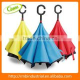 Windproof double layer reverse umbrella with C shape handle/creative umbrella