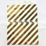 Factory Supply Chevron Striped Foil Gold Candy Snake Gift Packing Bags for Wedding Party Supply