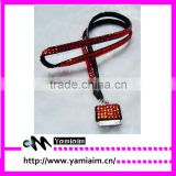 Hot sale bling bling beaded crystal rhinestone lanyard with metal hook