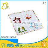 "high quality wholesale alibaba 8"" square 4 melamine compartment plate"