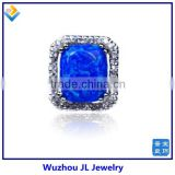 Synthetic Opal Jewelry With Big Sleepy Blue Opal Stone And CZ Border 2014 Fashion Style Jewelry Ring