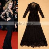 2015 Newest Designer Celebrity Long Sleeves See-through Bodycon Maxi Long Black Lace Sexy Evening Dress For Women