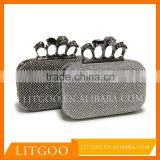 Litgoo elegant style skull knuckle box brooch crystal whith textured glitter fabric and latticed diamond clutch bag