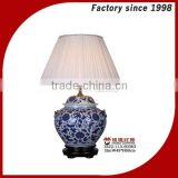 China wood base blue and white porcelain table lamp                                                                         Quality Choice