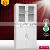 high quality steel filing storage cabinet medical cabinet with two drawers and glass door