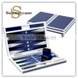 Navy Blue Piano Lacquer Wooden Backgammon Set