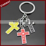 Hot selling SW17049 Promotional Gifts metal cross keychain/