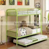 Metal Hotel Furniture Twin Size Hotel Bunk Bed with Trundle