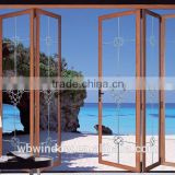 Double glazed doors prices PVC horizontal sliding folding doors with plastic inserts,PVC grill design accordion doors