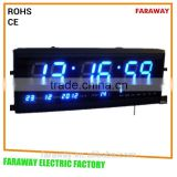 "3"" blue red green led digital wall clock/calender clock with tempeature for parking place,warehouse,office"
