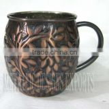 New Antique Embossed 100% Copper Moscow Mule Drinking Mug