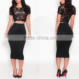 black lace sexy fashion two-piece outfit Pattern no elastic loose dress, casual dress, girl party wear western dress