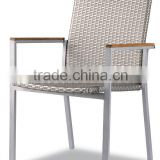 garden chair in white flat wicker with teak wood armrest for garden use and for hotel as well