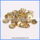 Wholesale 13mm Round Flying Saucer Gold Base Clear Crystal Rhinestone Donut Charm Jewelry Findings Spacer Beads RRS-FD13A