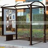 Modern Style Metal Outdoor Bus Stop Shelter in Good Design with Light Box for Advertising