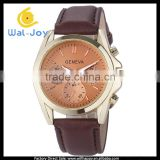 WJ-4932 Geneva brand stainless steel back leather strap colorful face special design men watches