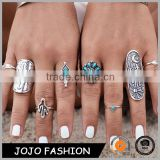 Bohemia Jewelry Set Turquoise Anti Silver Knuckle Carving Ring