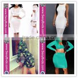 elegant african fashion designs dress women long sleeves bandage dress two pieces wholesale bodycon dress 2016