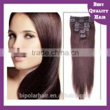 The best wholesale 24 inch clip in hair extension 7A Grade clip hair extension/Clip-in peruvian hair