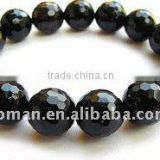 12mm nice round faceted black agate gemstone bracelets