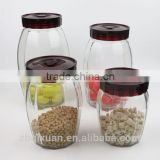 Clear Glass Storage Jar with Plastic Screw Lid, Glass Food Container with Lid