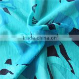 2015 new design printed chiffon crinkle fabric for garment