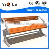 Modern outdoor wooden Park bench in garden chairs with metal legs